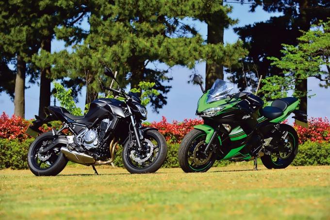カワサキのZ650とNinja650は同じエンジンと同じフレームを共有する兄弟車