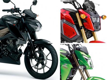 GSX-S125 ABSと国内メーカーの原付2種MTモデル・GROM、Z125 PROの3台をスペックで比較!