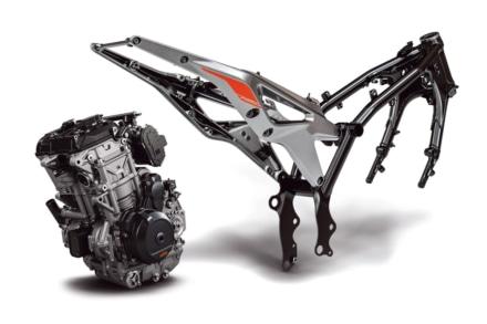 KTMの790デュークのエンジンとフレーム