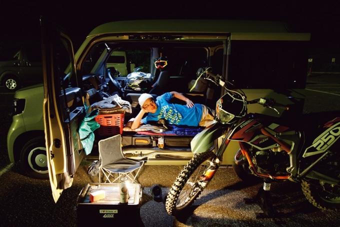 ホンダのNバンオフロードバイクを積んで日本海へ試乗旅。Nバンで車中泊インプレッションしてみた