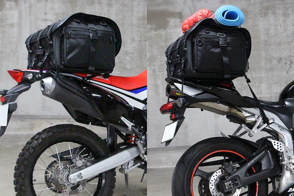 【積んでみた】プロトの新ブランド『IGAYA』の『キャンプツーリングシートバッグ』はシートが細身のバイクでも大丈夫!