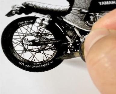 加藤ノブキ バイクのある日常テーマのイラスト制作の様子