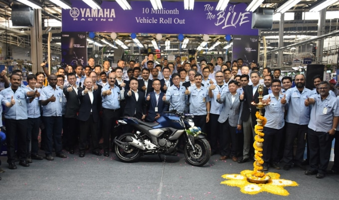 India Yamaha Motor 1,000万台達成記念式典の様子