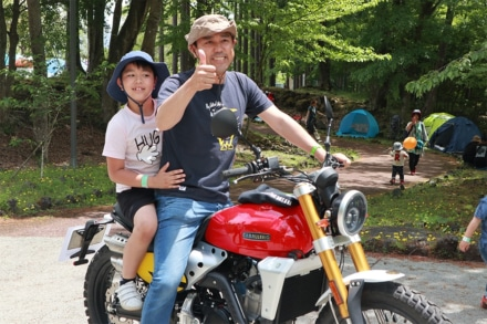 ACO CHiLL CAMP 2019 バイクスペースに展示しているキャバレロスクランブラー