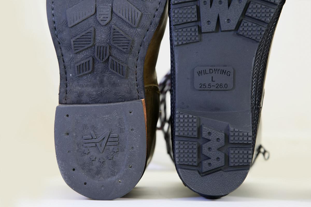 WILDWING RIN-001 フラミンゴ ラバーレインブーツ(長靴)と通常のブーツのかかと形状の比較