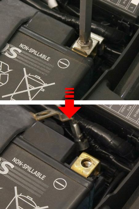 バッテリーのマイナス端子をはずす