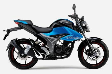 2020年モデル SUZUKI GIXXER150(グラススパークルブラック / トリトンブルーメタリック)左サイドビュー