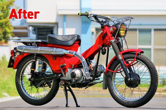 オートボーイ津田沼のリサイクルカブサービスでリフレッシュしたハンターカブ(CT110、'81年式)