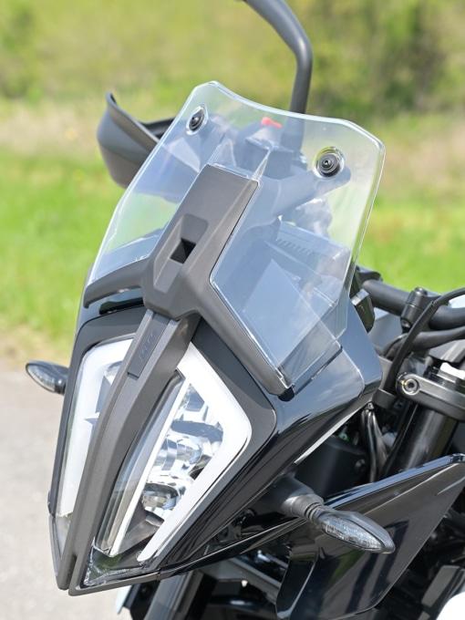 KTM 390ADVENTURE(2020年モデル)のショートスクリーンを下げた状態
