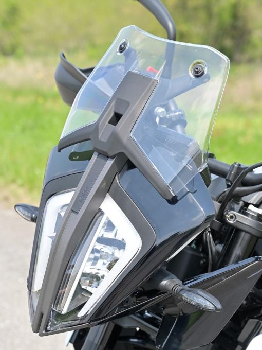KTM 390ADVENTURE(2020年モデル)のショートスクリーンを上げた状態