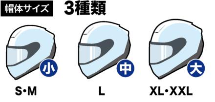 SHOEI NEOTECⅡの帽体サイズは3種類