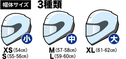 ARAI VECTOR-Xの帽体サイズは3種類