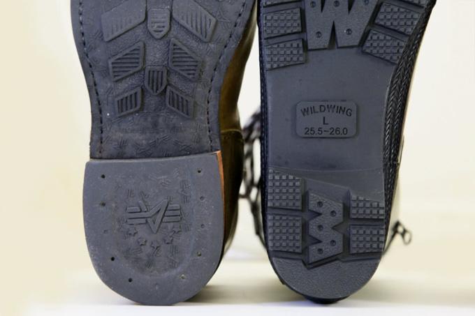 ブーツのソールの形状比較