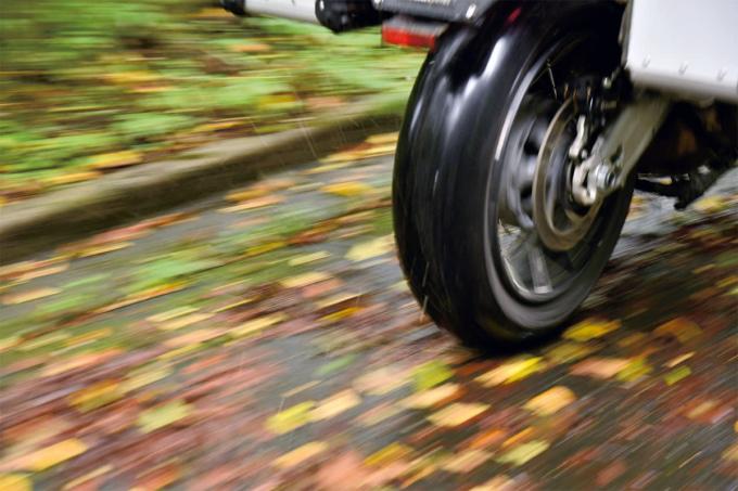 水分を含んだ落ち葉の上を走るバイクのタイヤ